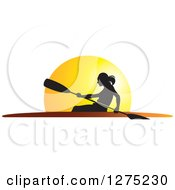 Clipart Of A Silhouetted Woman Rowing A Boat Against A Sunset Royalty Free Vector Illustration