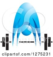 Clipart Of A Blue Person Bending Over To Pick Up A Barbell Royalty Free Vector Illustration by Lal Perera