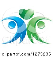 Clipart Of A Blue And Green Abstract Couple And Heart Design 2 Royalty Free Vector Illustration by Lal Perera