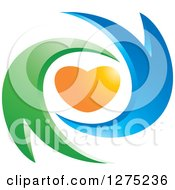 Clipart Of A Blue And Green Abstract Couple And Orange Heart Design Royalty Free Vector Illustration by Lal Perera