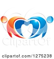 Clipart Of A Blue And Orange Abstract Couple Heart And Tooth Design Royalty Free Vector Illustration
