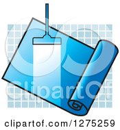 Clipart Of A Carpet Cleaner Leaving A Streak In A Blue Roll Over Tiles Royalty Free Vector Illustration