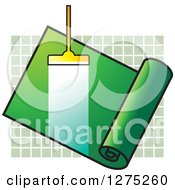 Clipart Of A Carpet Cleaner Leaving A Streak In A Green Roll Over Tiles Royalty Free Vector Illustration