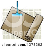 Clipart Of A Carpet Cleaner Leaving A Streak In A Brown Roll Over Tiles Royalty Free Vector Illustration