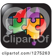 Clipart Of A Colorful Australia Puzzle Map On A Black Icon Royalty Free Vector Illustration