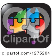 Clipart Of A Colorful Australia Puzzle Map On A Black Icon 2 Royalty Free Vector Illustration by Lal Perera