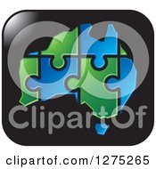 Clipart Of A Blue And Green Australia Puzzle Map On A Black Icon Royalty Free Vector Illustration