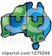 Clipart Of A Blue And Green Australia Puzzle Map Royalty Free Vector Illustration