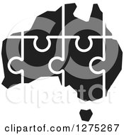 Clipart Of A Black And White Australia Puzzle Map Royalty Free Vector Illustration by Lal Perera
