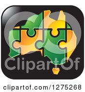 Clipart Of A Green And Orange Australia Puzzle Map On A Black Icon Royalty Free Vector Illustration