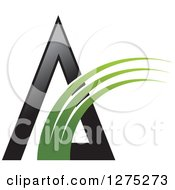 Clipart Of A Black Pyramid With A Green Swoosh Royalty Free Vector Illustration by Lal Perera
