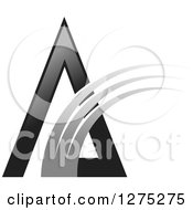 Clipart Of A Black Pyramid With A Gray Swoosh Royalty Free Vector Illustration by Lal Perera