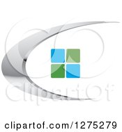 Clipart Of A Silver Swoosh With Green And Blue Tiles Or Windows Royalty Free Vector Illustration by Lal Perera