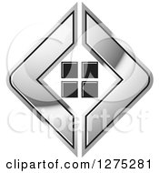 Clipart Of A Silver Icon With Tiles Or Windows Royalty Free Vector Illustration by Lal Perera