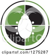 Clipart Of A White Silhouetted Beetle On A Black And Green Circle Royalty Free Vector Illustration by Lal Perera
