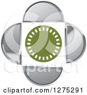 Clipart Of A Green And White Circle With Silver Designs Royalty Free Vector Illustration by Lal Perera