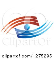 Clipart Of A Red And Blue Swoosh Eye Design Royalty Free Vector Illustration by Lal Perera