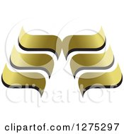 Clipart Of A Black And Gold Abstract Wave Design Royalty Free Vector Illustration