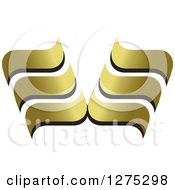 Clipart Of A Black And Gold Abstract Wave Design 2 Royalty Free Vector Illustration