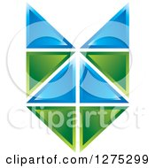 Clipart Of A Blue And Green Geometric Abstract Tile Design Royalty Free Vector Illustration