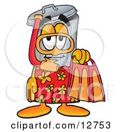Clipart Picture Of A Garbage Can Mascot Cartoon Character In Orange And Red Snorkel Gear by Toons4Biz