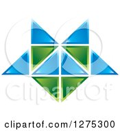 Clipart Of A Blue And Green Geometric Abstract Tile Design 2 Royalty Free Vector Illustration