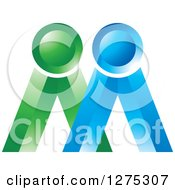 Clipart Of A Blue And Green Icon Royalty Free Vector Illustration