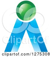 Clipart Of A Blue And Green Icon 2 Royalty Free Vector Illustration
