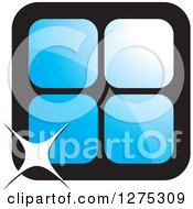 Clipart Of Four Blue Cages Or Tiles With A Sparkle Royalty Free Vector Illustration by Lal Perera
