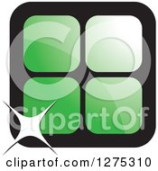 Clipart Of Four Green Cages Or Tiles With A Sparkle Royalty Free Vector Illustration by Lal Perera