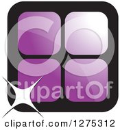 Clipart Of Four Purple Cages Or Tiles With A Sparkle Royalty Free Vector Illustration