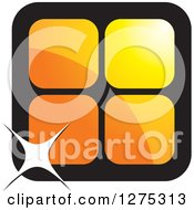 Clipart Of Four Orange Cages Or Tiles With A Sparkle Royalty Free Vector Illustration by Lal Perera