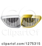 Clipart Of A Gold And Silver Grid Vent Or Grill Design Royalty Free Vector Illustration