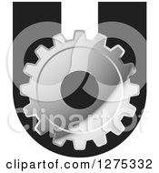 Clipart Of A Silver Gear On A Letter U Royalty Free Vector Illustration
