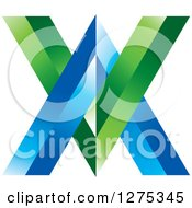 Clipart Of A Blue And Green Abstract VV Logo Royalty Free Vector Illustration