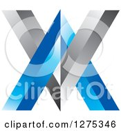 Clipart Of A Blue And Silver Abstract VV Logo Royalty Free Vector Illustration