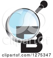 Clipart Of A Magnifying Glass Over A Black Letter B Royalty Free Vector Illustration by Lal Perera