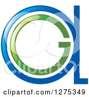 Clipart Of A Blue And Green Abstract GA Logo Royalty Free Vector Illustration