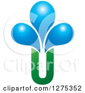 Clipart Of A Green Letter U Vase And Blue Water Drops Royalty Free Vector Illustration