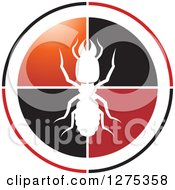 Clipart Of A White Silhouetted Termite On A Black Red Orange And Black Circle Royalty Free Vector Illustration by Lal Perera
