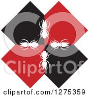 Clipart Of White Silhouetted Termites On A Black And Red Letter X Royalty Free Vector Illustration by Lal Perera