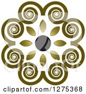 Clipart Of A Swirl And Flower Circle Royalty Free Vector Illustration