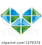 Clipart Of A Blue And Green Geometric Heart Tile Design Royalty Free Vector Illustration