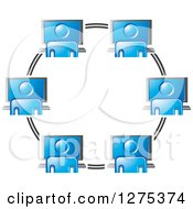 Clipart Of A Circle Of Networked Employees And Computers Royalty Free Vector Illustration by Lal Perera
