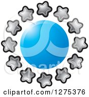 Clipart Of A Blue Circle And Silver Stars Royalty Free Vector Illustration by Lal Perera