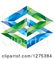Clipart Of A Green And Blue Entwined Diamonds Royalty Free Vector Illustration by Lal Perera