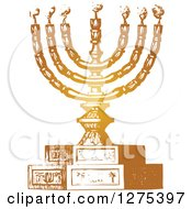 Clipart Vintage Gold Menorah And Candles Royalty Free Vector Illustration
