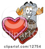 Clipart Picture Of A Garbage Can Mascot Cartoon Character With An Open Box Of Valentines Day Chocolate Candies