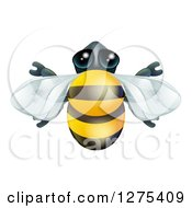 Clipart Of A Cute Bee From Above Royalty Free Vector Illustration by AtStockIllustration