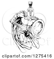 Clipart Of A Black And White Muscular Spartan Man In A Cape Running With A Sword And Shield Royalty Free Vector Illustration